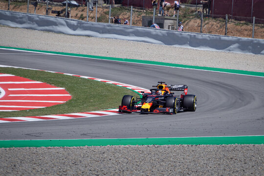 MONTMELLO, SPAIN-MAY 10, 2019: Red Bull RB15 Formula One racing car (Driver: Max Verstappen)