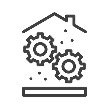 Home settings icon. Mechanical gears under the roof. Simple linear image. Isolated vector on white background.