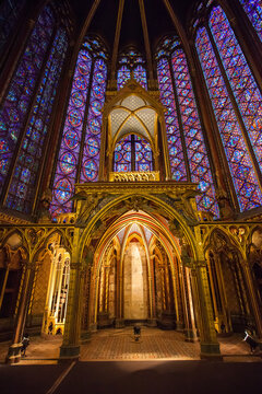 Altar in the upper chapel in Sainte Chapelle. Sainte Chapelle is one of the most beautiful and tourist visited landmark in Paris