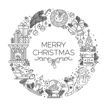 Merry Christmas black linear illustration. Thick line outline symbols arranging in a circle. Vector New year monocolor concept. Contour pictograms. Editable stroke