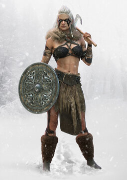 Portrait of a fierce viking woman standing ready for battle with an axe and shield and a snowing forest landscape background. 3d rendering