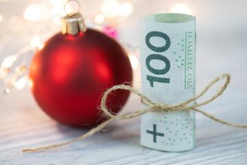 Fototapeta Koncepcja świąteczna, gotówka jako prezent świąteczny obraz