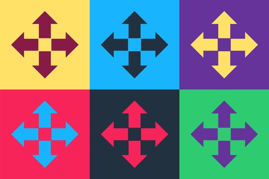 Pop art Arrows in four directions icon isolated on color background. Vector.