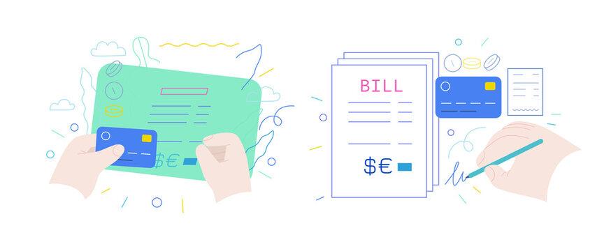 Medical insurance - hospital bills payment -modern flat vector concept digital illustration - patient signing a stack of invoices, holding a credit card, medical service metaphor