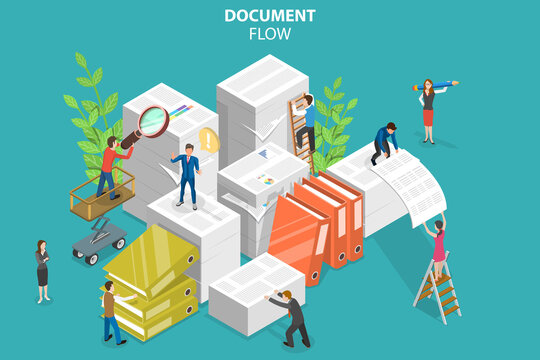 3D Isometric Flat Vector Conceptual Illustration of Document Flow, Working with Paper Documents at Office.