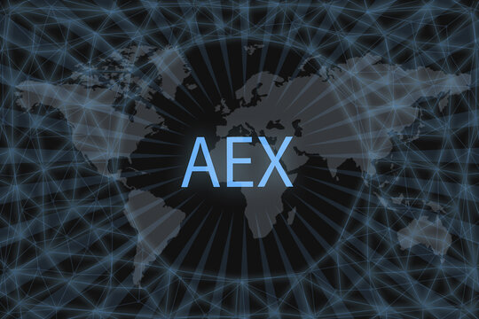 AEX Global stock market index. With a dark background and a world map. Graphic concept for your design.