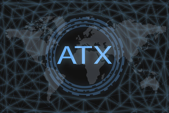 ATX Global stock market index. With a dark background and a world map. Graphic concept for your design.