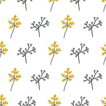 Berries and leaves seamless pattern. Hand-drawn plants on a white background, vector illustration.