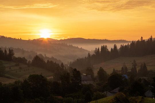 Beautiful sunrise in the Carpathian mountains in autumn