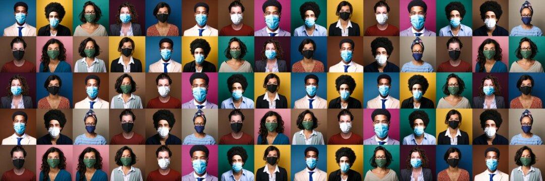Beautiful people wearing a mouth mask