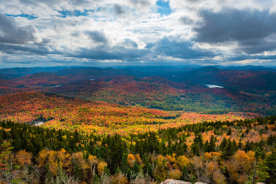 Sunrays over fall foliage colors from Crane mountain