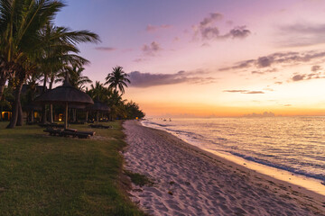 The beach in Le Morne Brabant at sunset, Mauritius, Africa