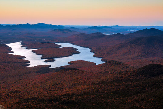 Lake Placid seen from whiteface mountain by a cool fall sunset