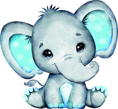 Watercolor Blue Boy Elephant