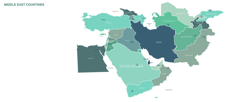 Middle East Countries map. Detailed world Map Vector with Country,Capital,City Names.