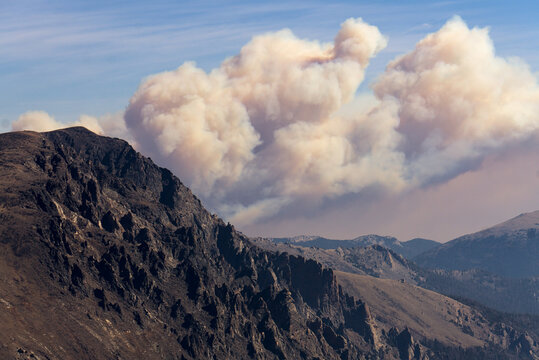 Wildfire smoke from the Cameron Peak fire in Rocky Mountain National Park in 2020