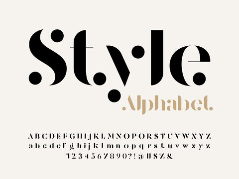 Modern serif alphabet design with uppercase, lowercase, numbers and symbol