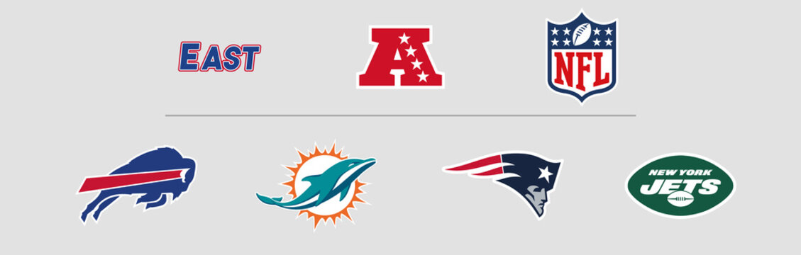NFL American Football Conference East Division logos. Vector, transparent.