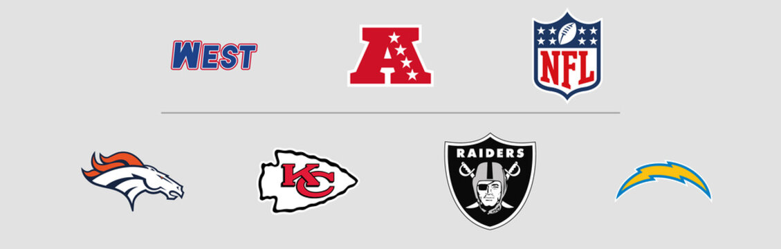 NFL American Football Conference West Division logos. Vector, transparent.