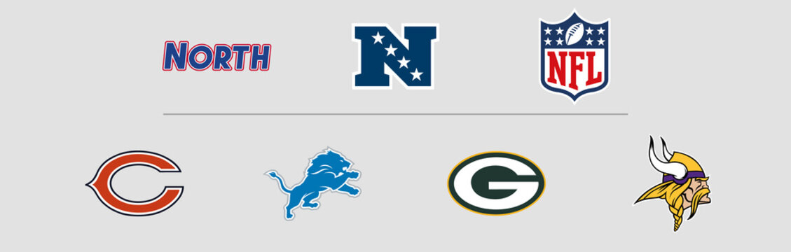 NFL National Football Conference North Division logos. Vector, transparent.