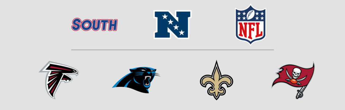 NFL National Football Conference South Division logos. Vector, transparent.