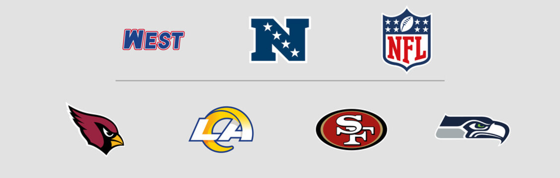 NFL National Football Conference West Division logos. Vector, transparent.