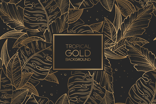 Vector seamless pattern with gold trendy exotic palm and monstera leaves isolated on black background. Elegant design for print, fabric, wallpaper, card, invitation