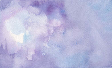 Wall Mural - purple watercolor background painting on paper texture, pastel purple blue colors in blotches and paint bleed design