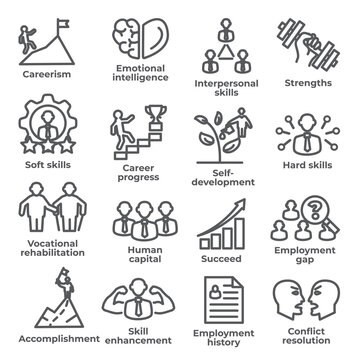 Employment line icons set on white background