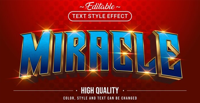 3D blue miracle text effect - Editable text effect