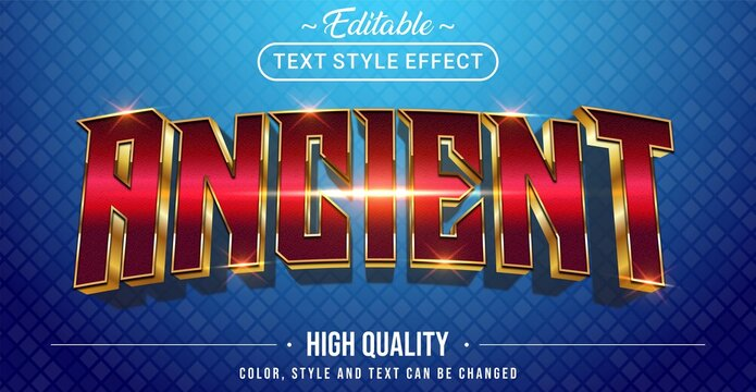 3D ancient red and golden outline text effect - Editable text effect