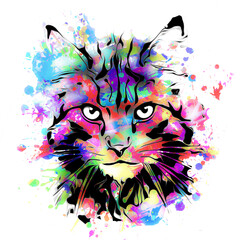 abstract colorful cat muzzle illustration, graphic design concept