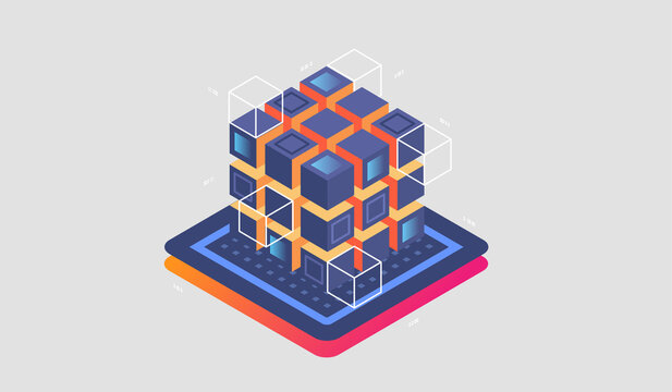 Isometric Digital Technology Web Banner. BIG DATA Machine Learning Algorithms. interacting Data analysis, research, audit, demographics, Artificial Intelligence, isometric visualization concept