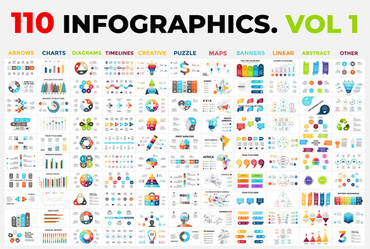 110 Vector Infographics vol 1. Presentation templates includes 11 categories from maps, diagrams or banners to timelines, arrows and creative.