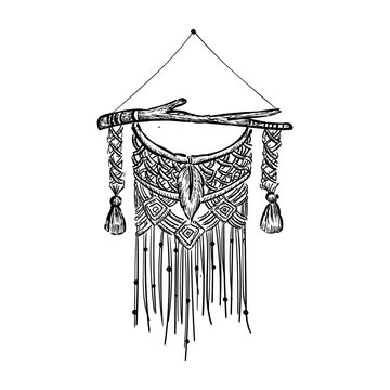 Beautiful boho macrame wall hanging, home decoration hand drawn vector illustration