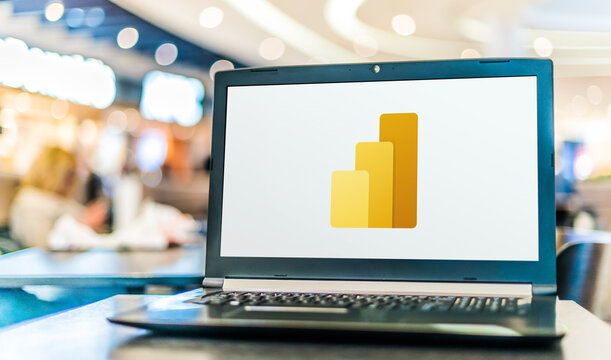 Laptop computer displaying logo of Microsoft Power BI