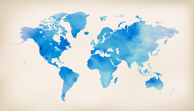 Blue world map on vintage paper background. watercolor style