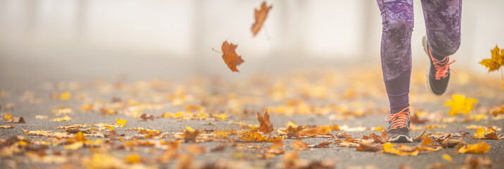 Close-up view of female legs running in autumn nature