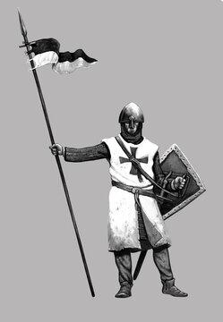 Medieval crusader. Templar knight. Historical illustration.
