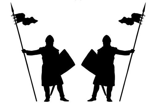 Medieval crusader. Templar knights. Historical illustration.
