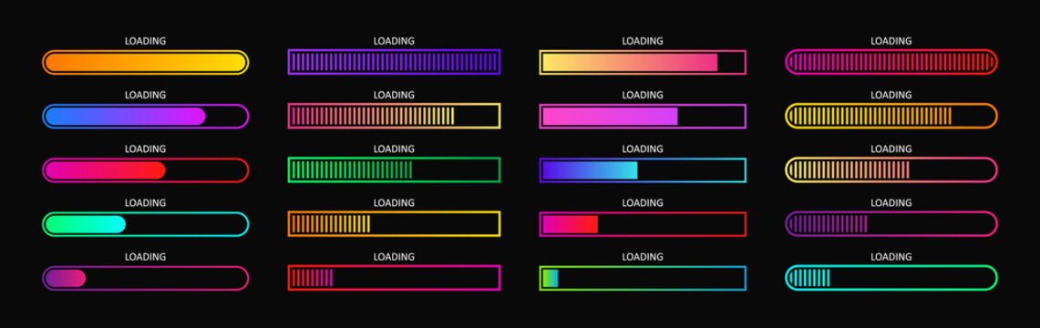 Progress load bar. Indicator of status download. Graphic icons of interface. Neon buttons of speed of upload. Color set of web loaders with percent. Futuristic UI for website, game, internet. Vector