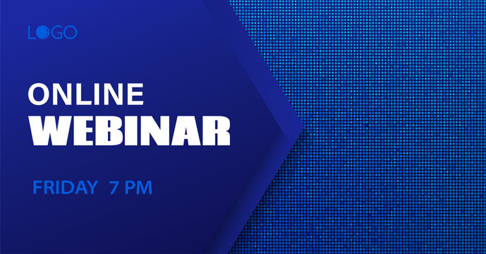 Online webinar vector template. Abstract dotted blue background for business meeting. Banner for social media event