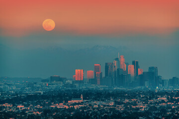 Fotobehang - Full moon rising above downtown Los Angeles skyline background.