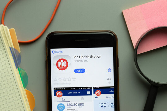 New York, USA - 26 October 2020: Pic Health Station mobile app logo on phone screen close up, Illustrative Editorial