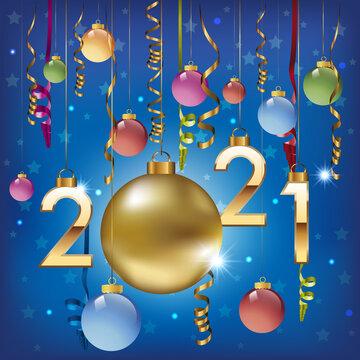 Carte de vœux 2021, avec les traditionnelles boules de noël, colorées et accompagnées de guirlandes dorées pour fêter la saint sylvestre et la nouvelle année.
