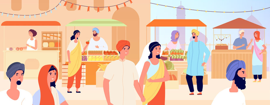 Asian street market. Asia girl, woman shopping on indian or arabic bazaar. Traditional goods marketplace, eastern travel vector illustration. Asian market street, marketplace traditional