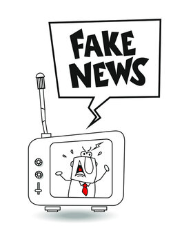 Fake news in the world. This businessman shouts at the TV Fake news. It is a metaphor of fake news broadcast on tv or media
