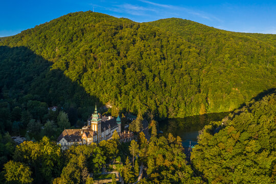 Lillafured, Hungary - Aerial view of the famous Lillafured Castle in the mountains of Bukk near Miskolc on a sunny summer morning with clear blue sky