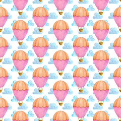 Pink hot air balloon watercolor seamless pattern
