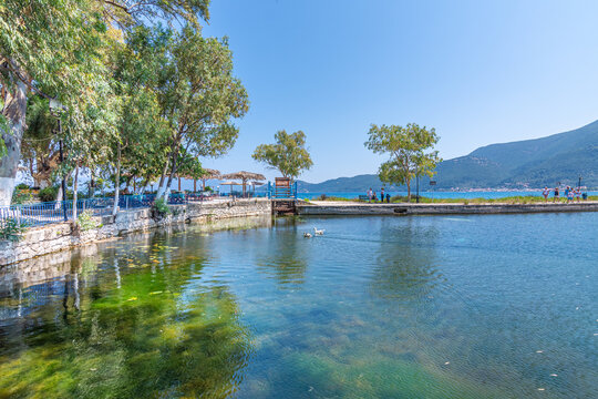 View of Karavomilos natura lake with calm waters in Kefalonia Greece
